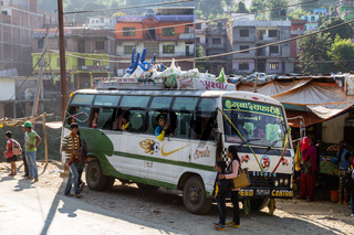 Nepalese bus parking on road side