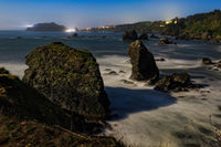 Moonlit Night Image of a Rocky Beach, Northern California Coast