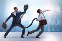 Businessman losing energy to work