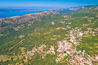 Vinodol valley and town of Bribir aerial view