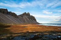 Vestrahorn mountain and viking village in Iceland