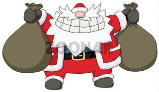 Party Christmas Cartoon, Two Sack Santa