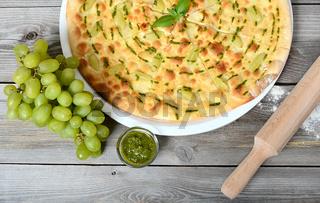 Focaccia with grapes and sauce Pesto