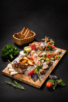 Meat assorty with kebab, salad, vegetable cut
