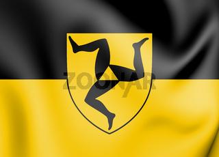 3D Flag of Fuessen (Bavaria), Germany. 3D Illustration.