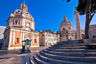 Empty streets of Rome.view of Santa Maria di Loreto in eternal city of Rome