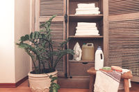 Wooden cupboard of laundry equipment in home interior