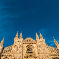 Sunset view of Milan Duomo Cathedral