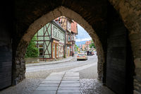 View through the Westerntor to the old town of Wernigerode in the Harz Mountains
