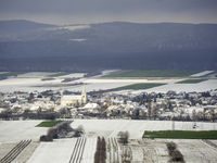 Village of Schützen in Burgenland covered with snow