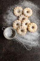 Sweet rings cookies. Biscuits with vanilla flavor sprinkled with sugar.