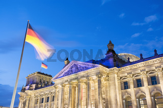 The Reichstag at dusk
