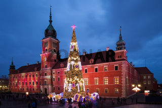 Royal Castle and Christmas Tree in Warsaw