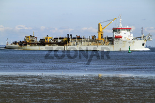 Excavator ship, James Cook, Fairway, Cuxhaven, Lower Saxony, Germany, Europe