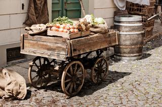 Fresh farm vegetables displayed for sale