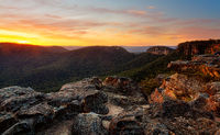 Rocky mountain sunset at Mount Victoria Australia