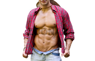 Muscular chest of male bodybuilder with open shirt, showing ripped body