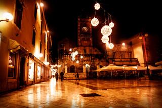 Christmas decorated square in front of church Sveti Lovro, Zadar, Croatia