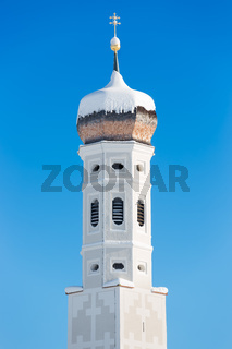 Bell tower of Bavarian Church, German Alps