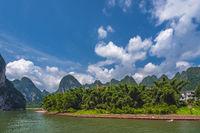 The turn of Li River in China