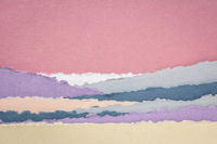 landscape in pink and blue tones created with handmade Indian paper