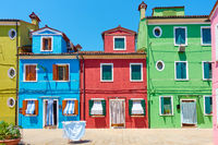 Street with colorful old houses in Burano