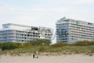 Hotels der Hotelketten Hilton und Radisson am Strand von Swinemünde