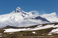 Beautiful mountain landscape of Kamchatka Peninsula, view of active volcanoes