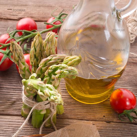 asparagus tomatoes oil