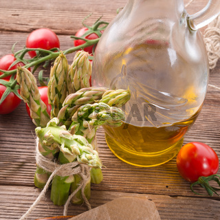 asparagus tomatoes oil