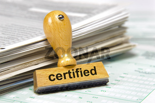 certified printed on rubber stamp