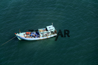 Fishing vietnamese boat from above. Phu Quoc