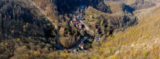Blick über treseburg im Harz