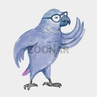 African Grey Parrot or Congo Grey Parrot Wearing Eye Glasses Standing and Waving Watercolor Painting