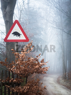 Warning sign wild boars crossing the street
