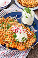 Hash brown potato waffles