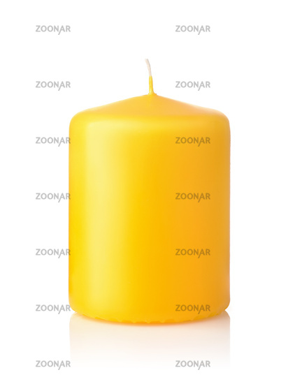 Front view of yellow unused wax candle