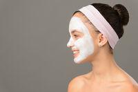 Teenage girl cosmetics mask beauty looking away