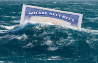 Concept of Social Security trust fund being in danger of exhaustion and sinking underwater