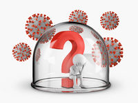 Man under the question mark inside the dome and coronaviruses