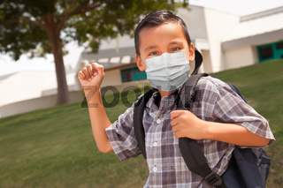 Hispanic Student Boy Wearing Face Mask with Backpack on School Campus