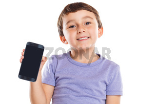 Little boy child holding smartphone smart cell phone cellphone marketing ad advertising isolated on white