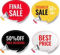 Sale banner With Megaphone Isolated White Background