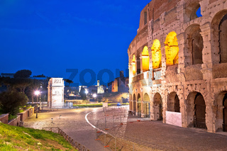 Rome. Colosseum of Rome and Arch of Constantine scenic evening view without people