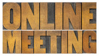 online meeting word abstract in wood type