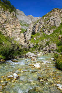 Doron river in Vanoise national Park valley, French alps