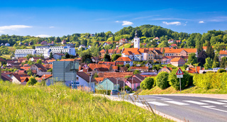 Town of Varazdinske Toplice in green hillside landscape view