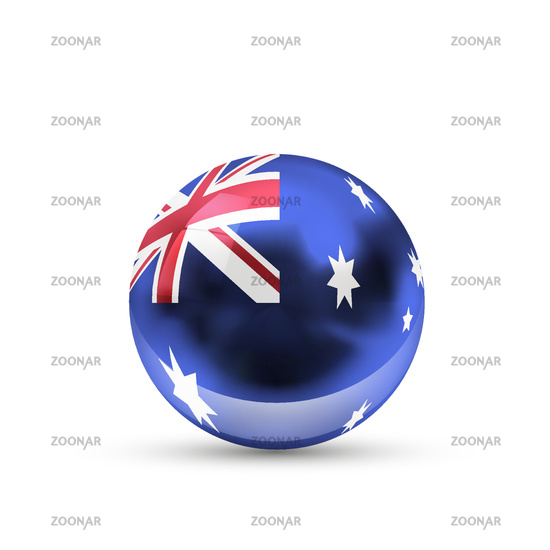 Australia flag projected as a glossy sphere on a white background