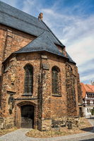 delitzsch, germany - 19.06.2019 - side portal of the city church of st. peter and paul