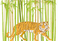 big tiger with jungle background - illustration